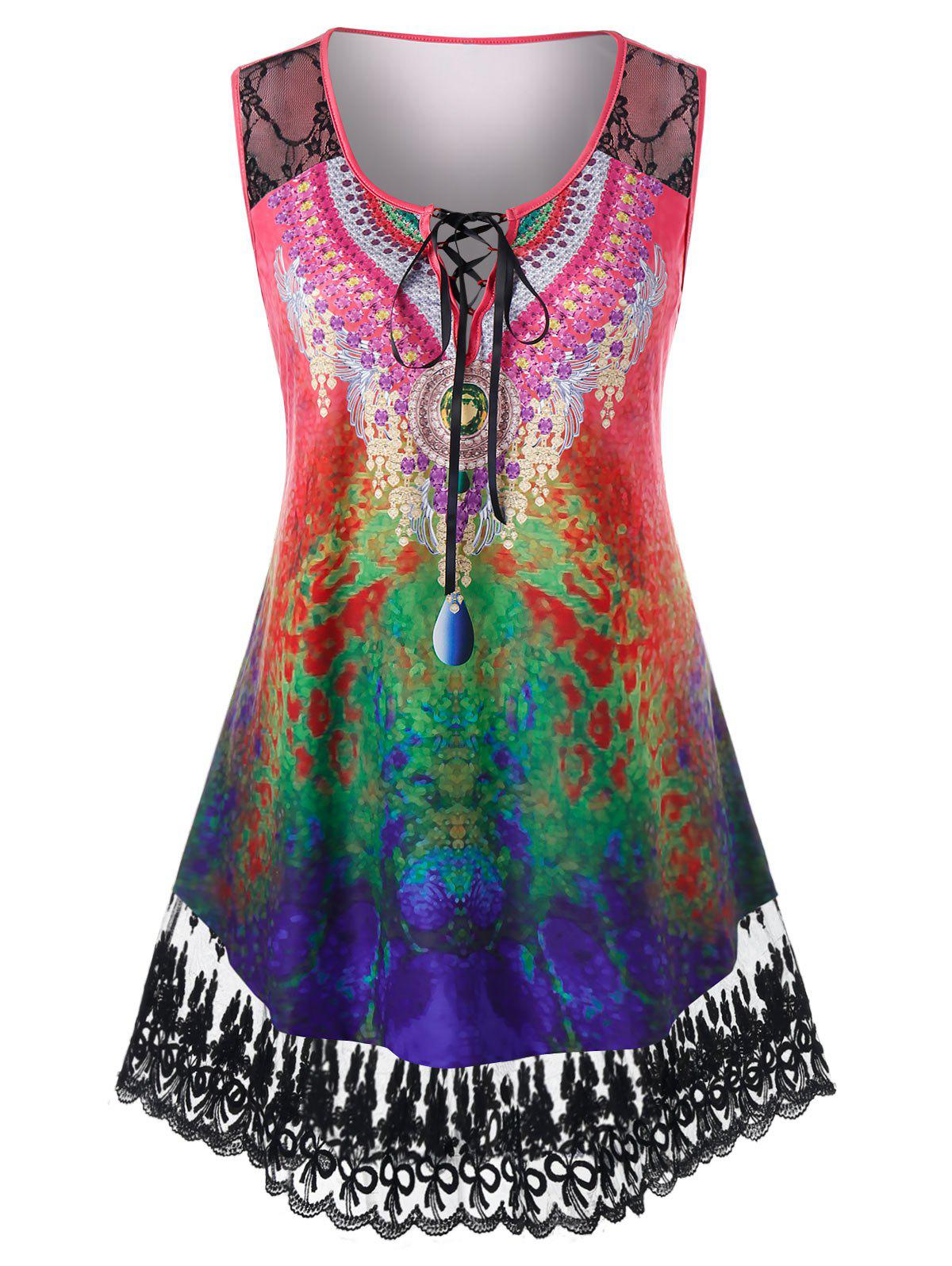Plus Size Lace Panel Tie Dye Lace Up Curved Sheer Tank Top - multicolor 5X