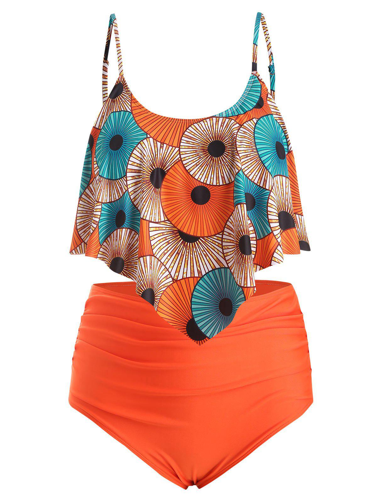 Printed Flounce Ruched Plus Size Tankini Swimsuit - ORANGE 3X