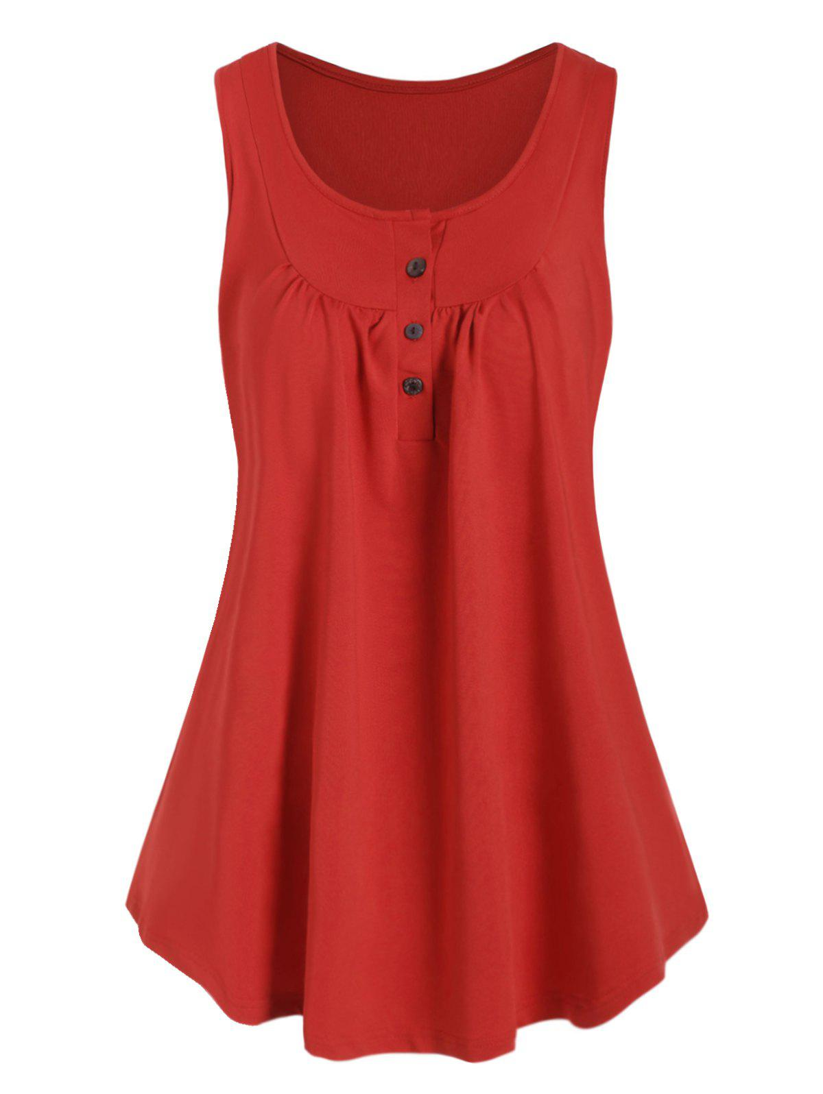 Plus Size Half Button Swing Tank Top - RED 5X