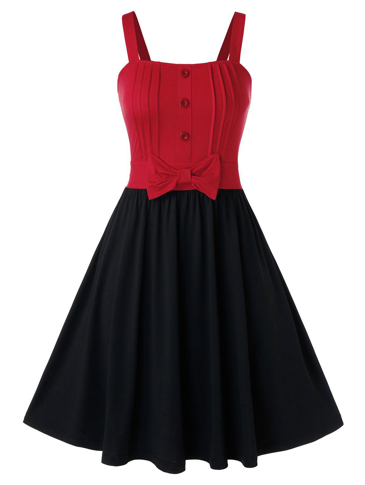 Plus Size Bowknot Button Fit And Flare Dress - BLACK 4X