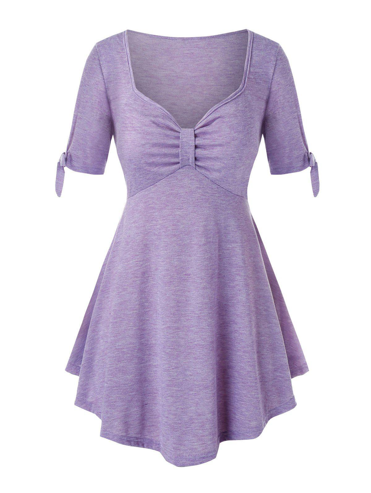 Plus Size Knotted Tie Cuffs Heather T-shirt - MAUVE 3X