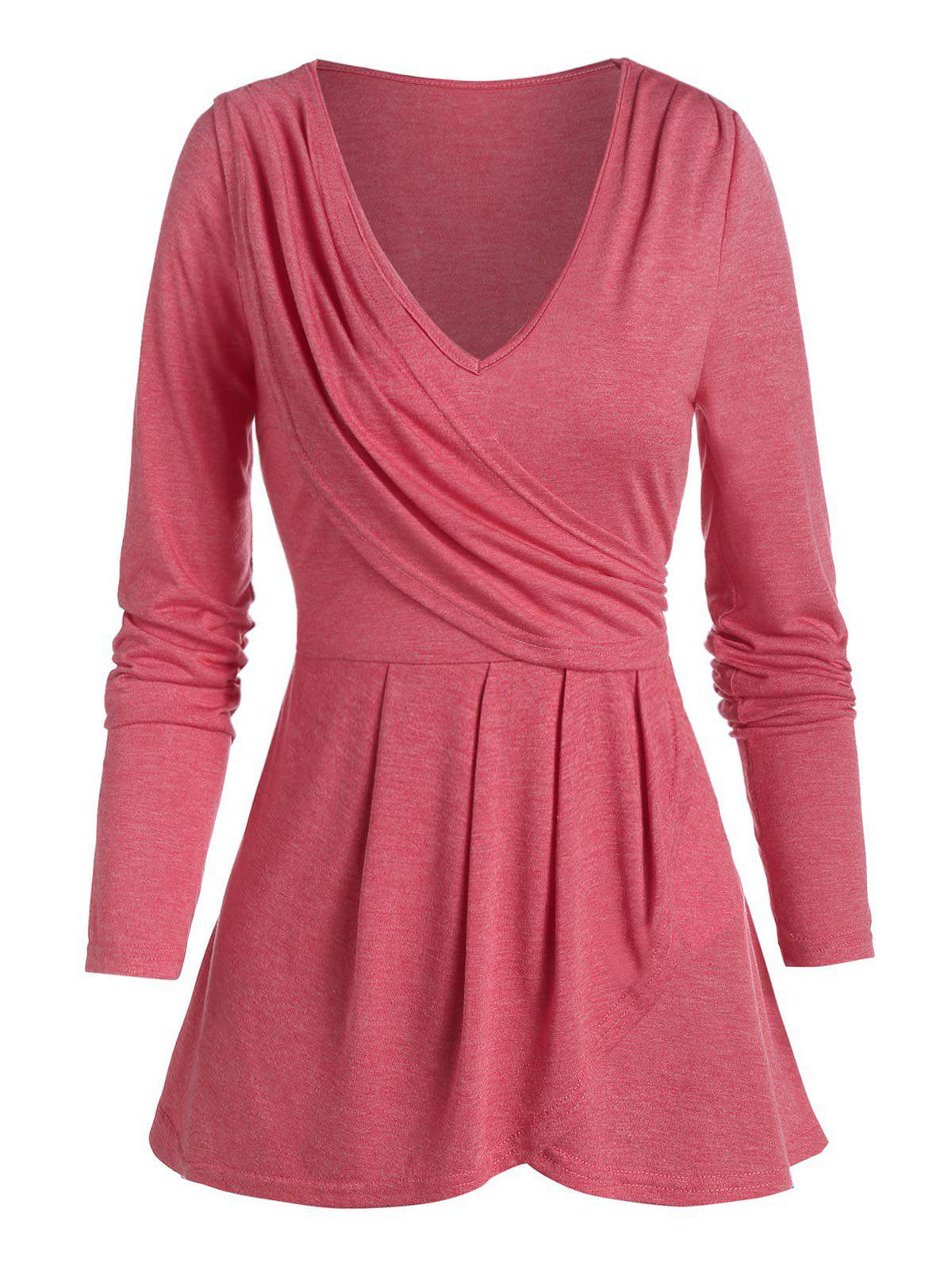 Heathered Plunge Neck Ruched Surplice T-shirt - CHERRY RED 2XL