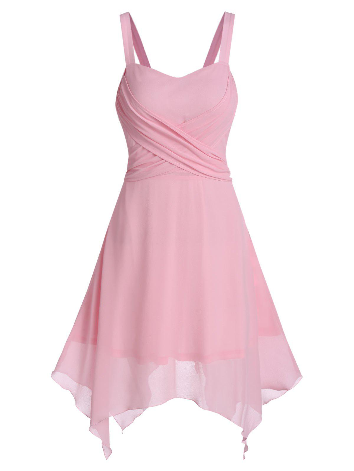 Solid Crisscross Asymmetrical Chiffon Dress - PIG PINK XL