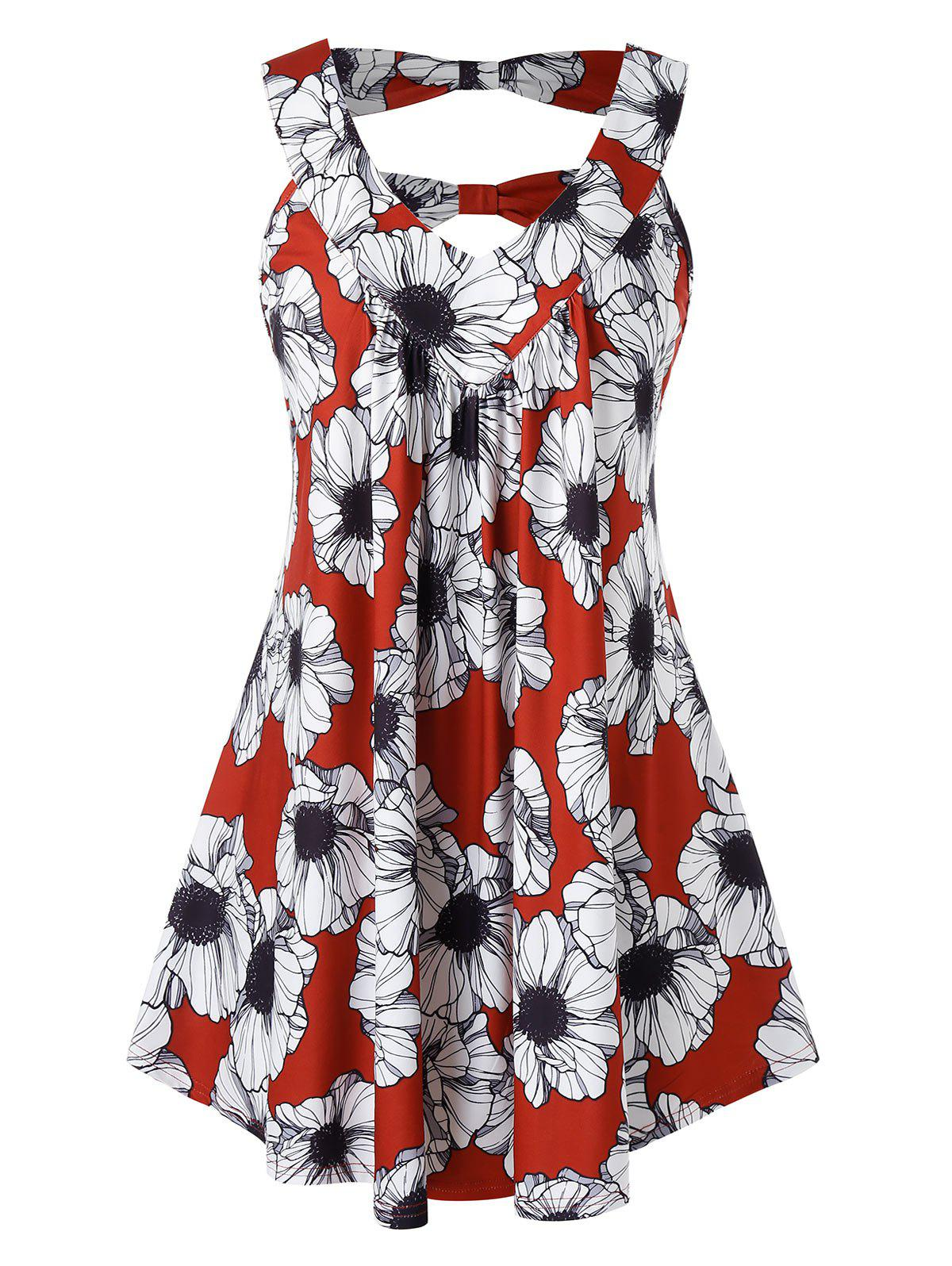 Plus Size Floral Print Back Knot Tank Top - RED WINE 4X