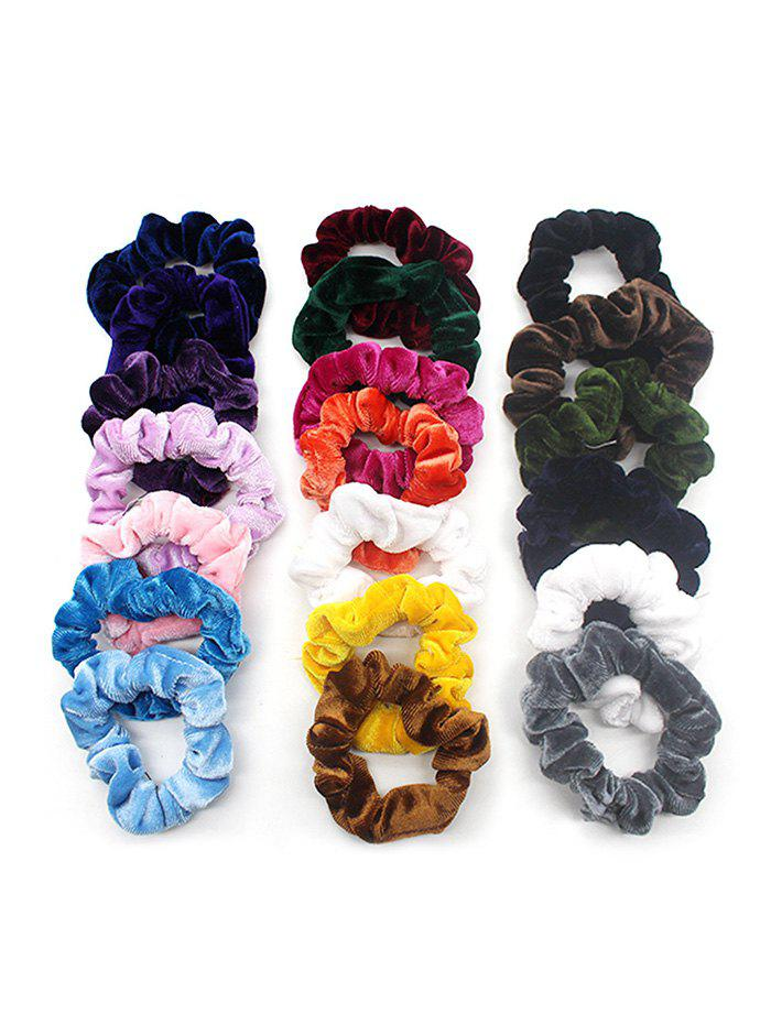 20Pcs Velour Fabric Elastic Scrunchies Set - multicolor A