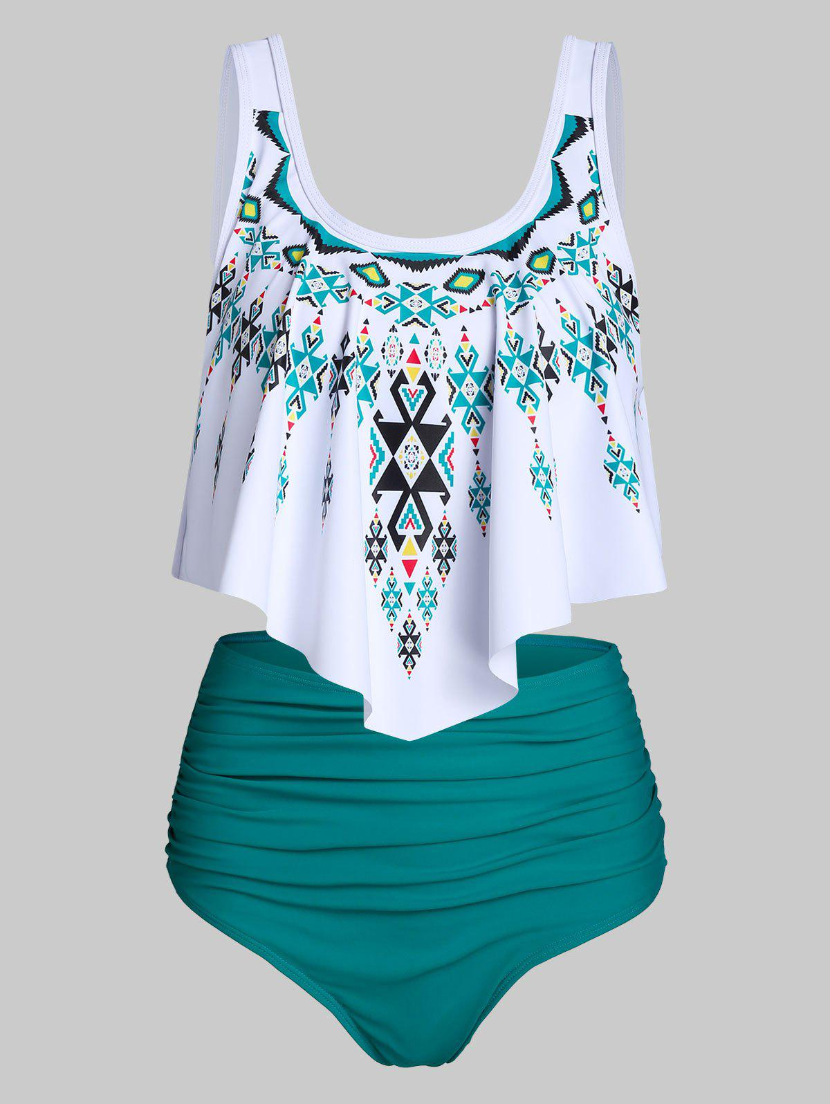 Ethnic Geometric Print High Waisted Asymmetrical Tankini Swimwear - SEA TURTLE GREEN XL