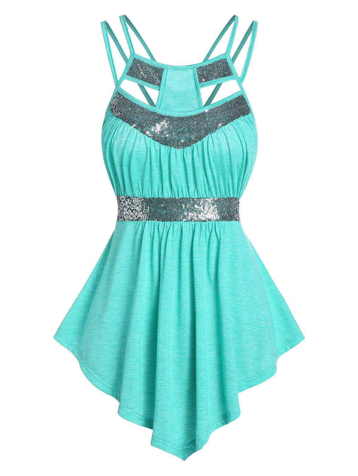 Strappy Sequin Panel Cut Out Tank Top - CRYSTAL BLUE 2XL