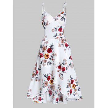 Floral Print Spaghetti Strap High Low Surplice Dress