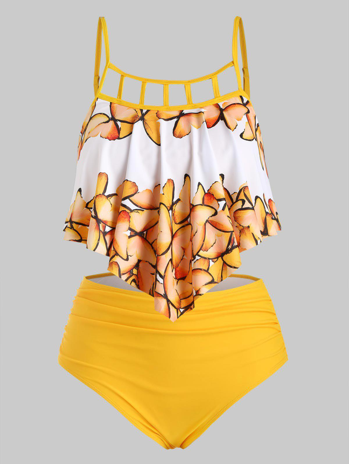 Cut Out Butterfly Overlay Flounces Ruched Plus Size Tankini Swimsuit - YELLOW 4X