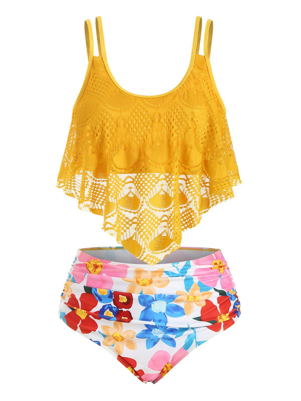 Lace Overlay Flounces Floral Plus Size Tankini Swimsuit - GOLDEN BROWN 3X