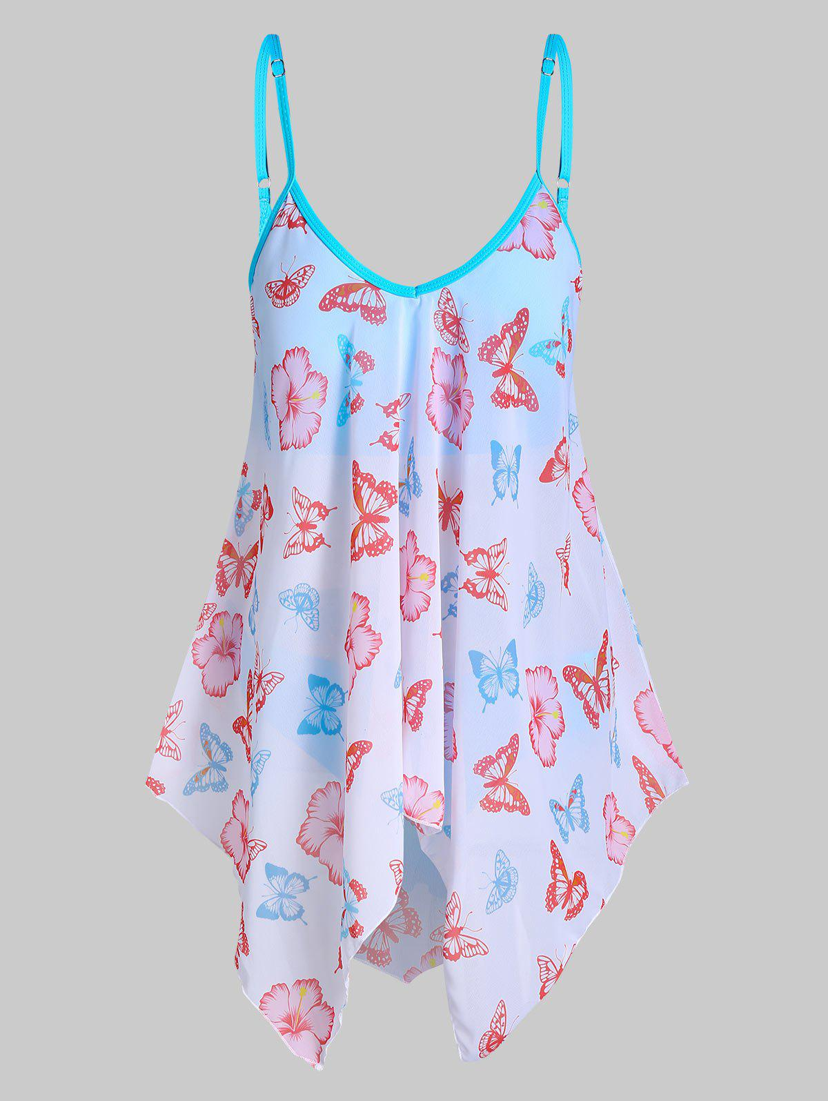 Butterfly and Flower Print Padded Tankini Swimsuit - DAY SKY BLUE XL