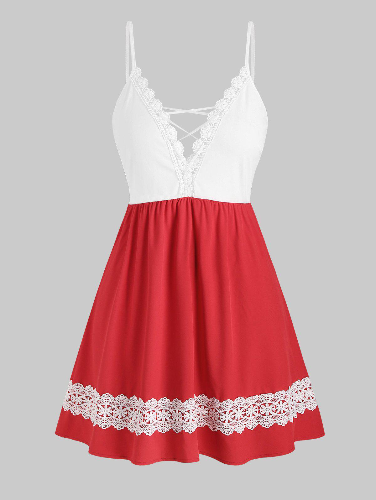 Lace Trim Lattice Colorblock Plus Size Cami Dress - RED 1X