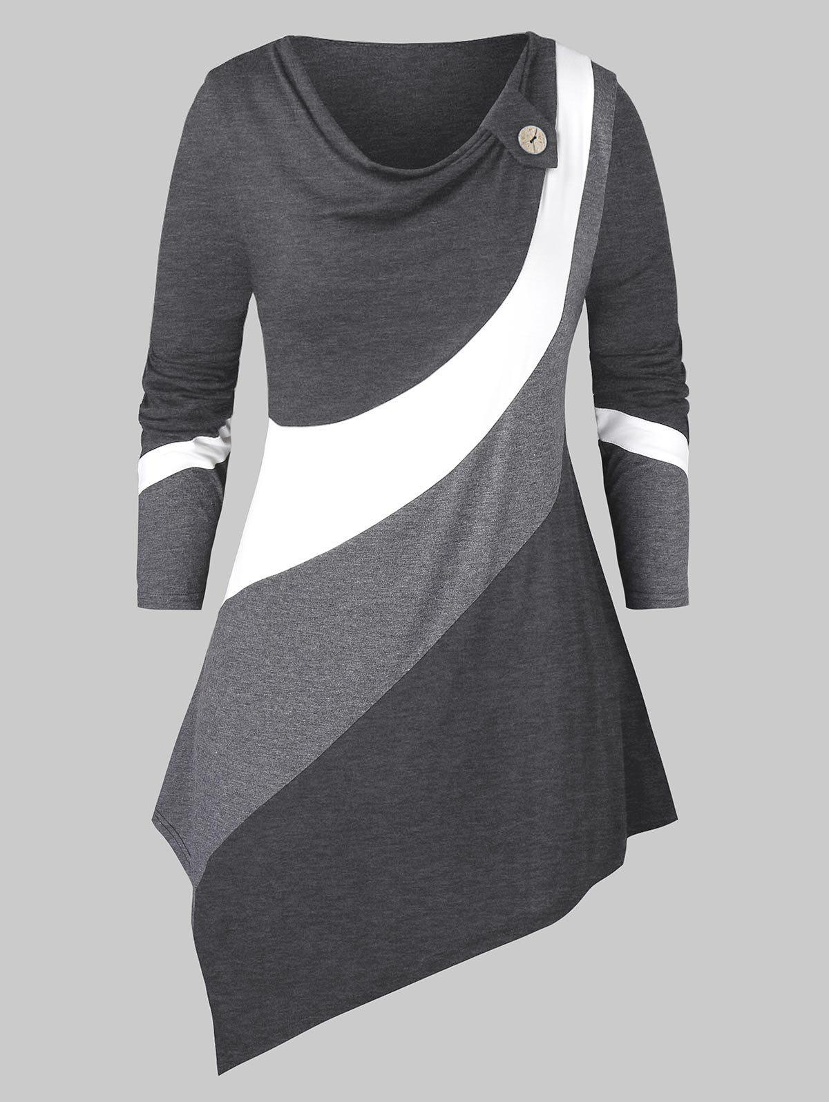 Plus Size Cowl Neck Contrast Color Asymmetric T Shirt - DARK GRAY 3X