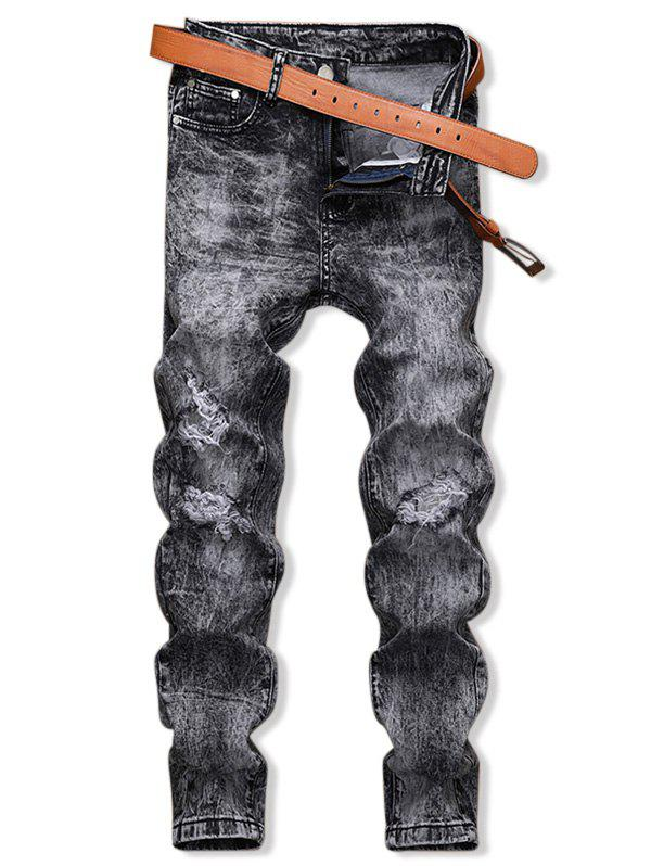 Snow Wash Ripped Denim Pants - GRAY 38