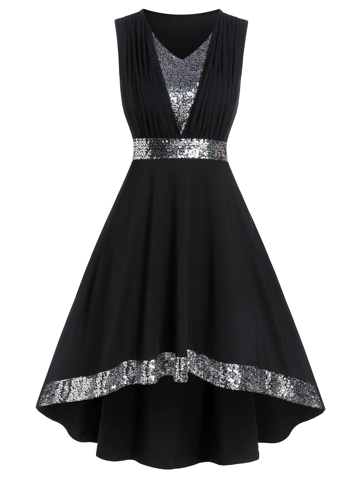 Sequin Panel Sleeveless High Low Prom Dress - BLACK L