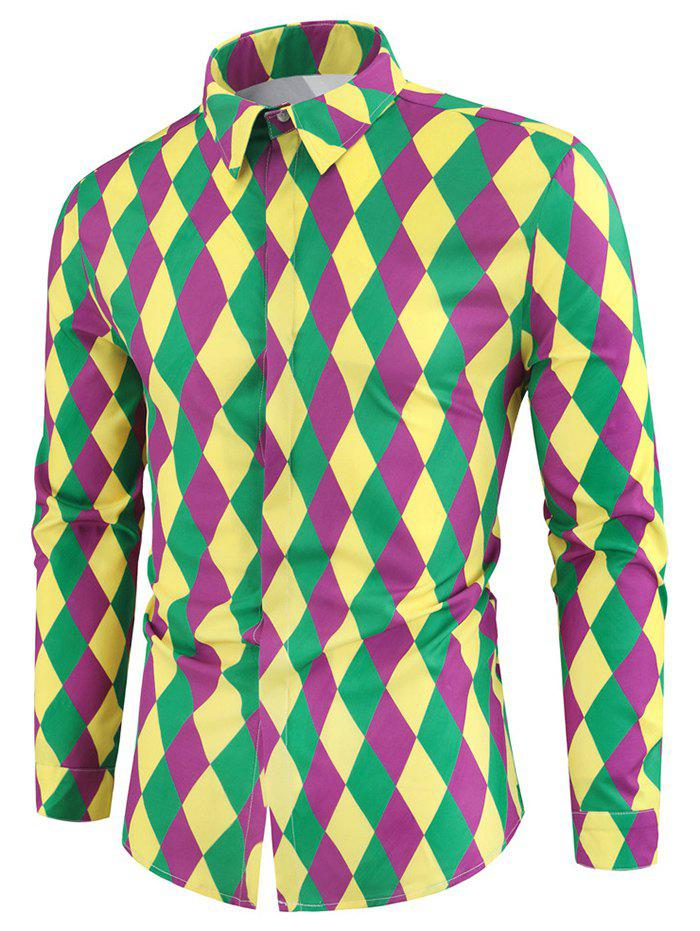 Colorful Rhombus Pattern Long Sleeves Shirt - multicolor XL
