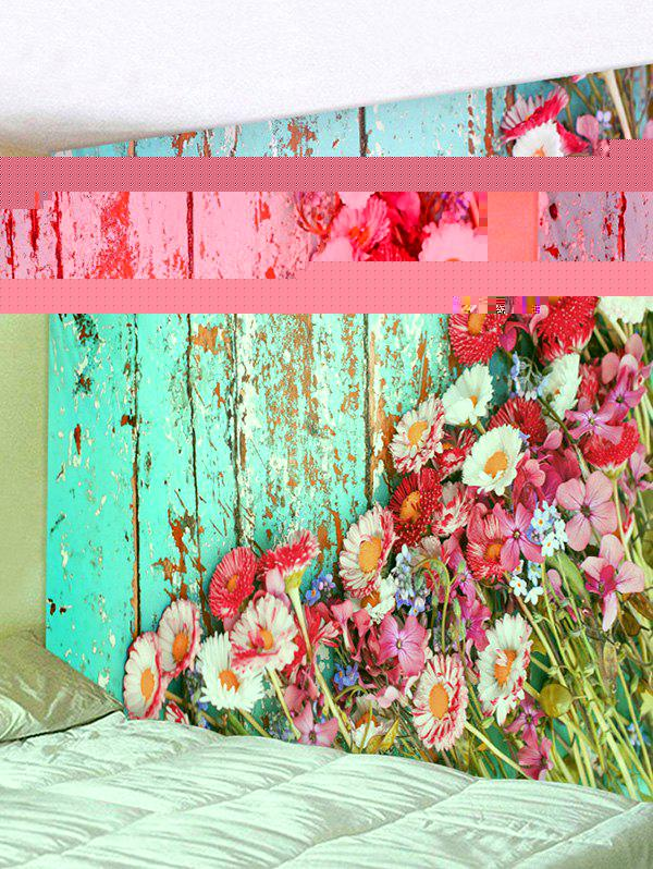Old Wooden Board Flowers Pattern Tapestry Wall Hanging Art Decoration - multicolor W91 X L71 INCH