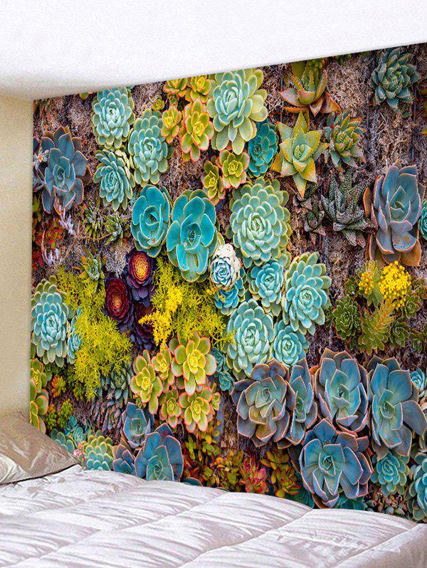 Succulent Plants Print Tapestry Wall Hanging Art Decoration - multicolor W59 X L51 INCH