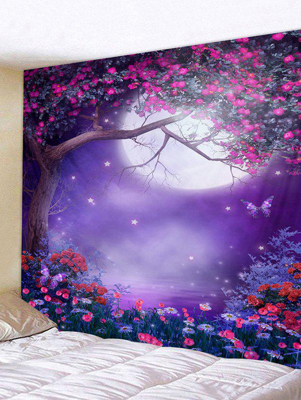 Moon Night Flower Tree Printed Tapestry Wall Hanging Art Decoration - multicolor W79 X L59 INCH
