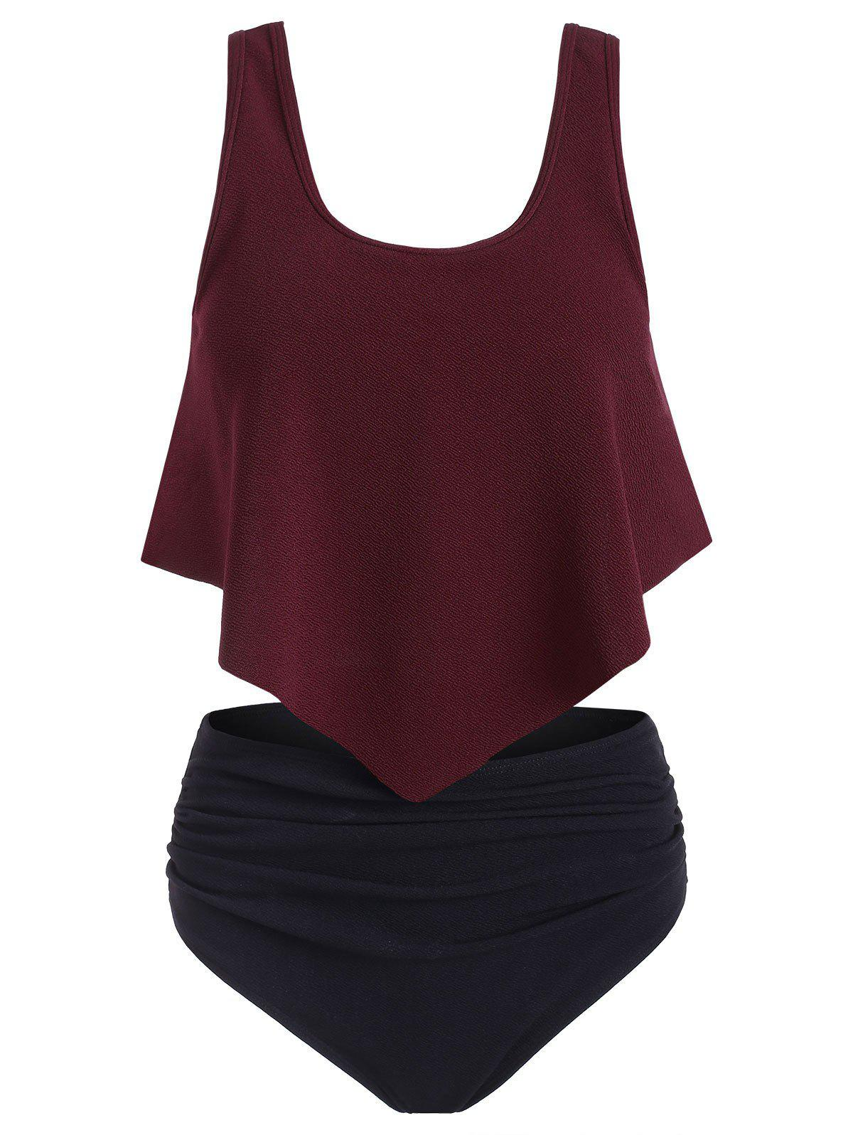 Flounce Ruched Textured Tankini Swimsuit - RED WINE S