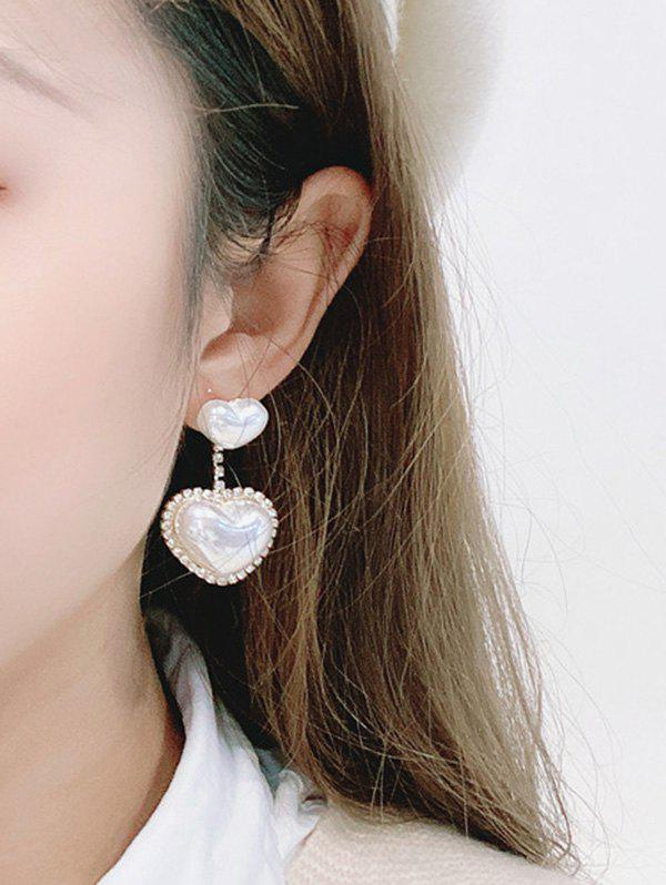 Rhinestone Faux Pearl Heart Drop Earrings - WHITE