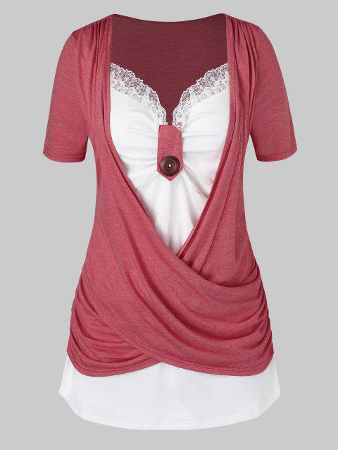 Plus Size Crossover Knotted Colorblock T Shirt