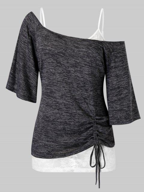 Plus Size Skew Collar Cinched Tee and Lace Cami Top Set