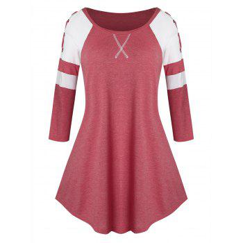 Plus Size Grommet Lace Up Two Tone Tunic Tee