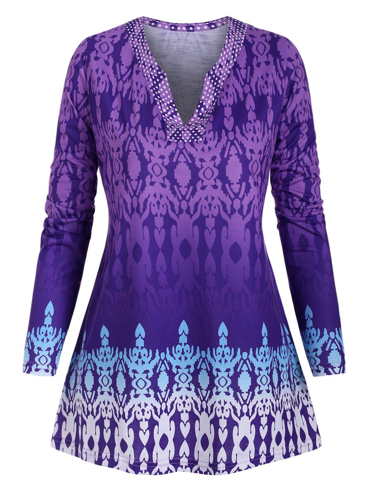 Plus Size Tribal Print T Shirt - PURPLE 5X