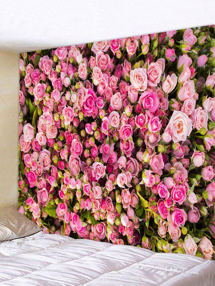 3D Rose Flower Print Tapestry - BLUSH RED W91 X L71 INCH