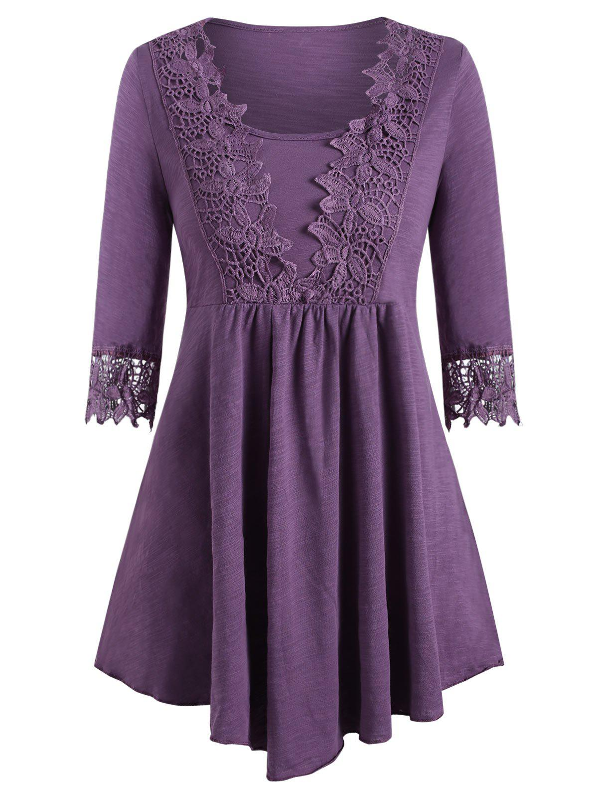 Applique Panel Tie Smock Tunic Tee - MEDIUM PURPLE 3XL