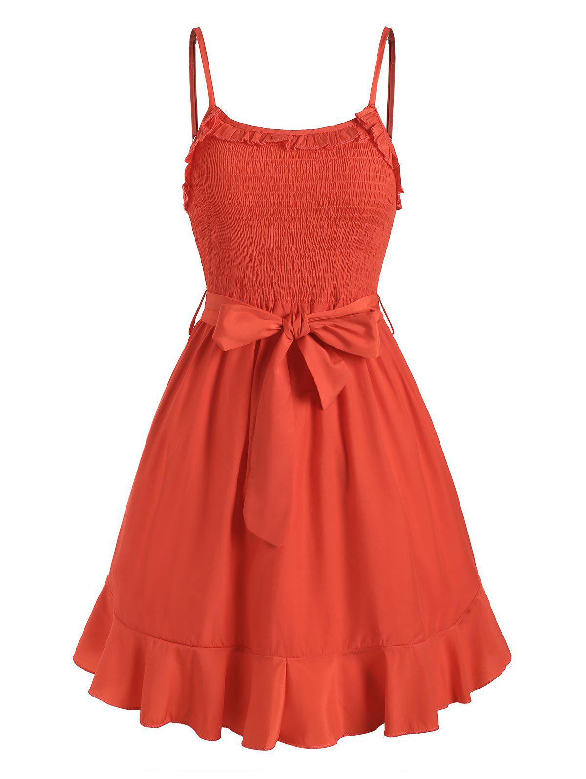 Flounce smocks Belted Cami Mini Robe - Rouge M