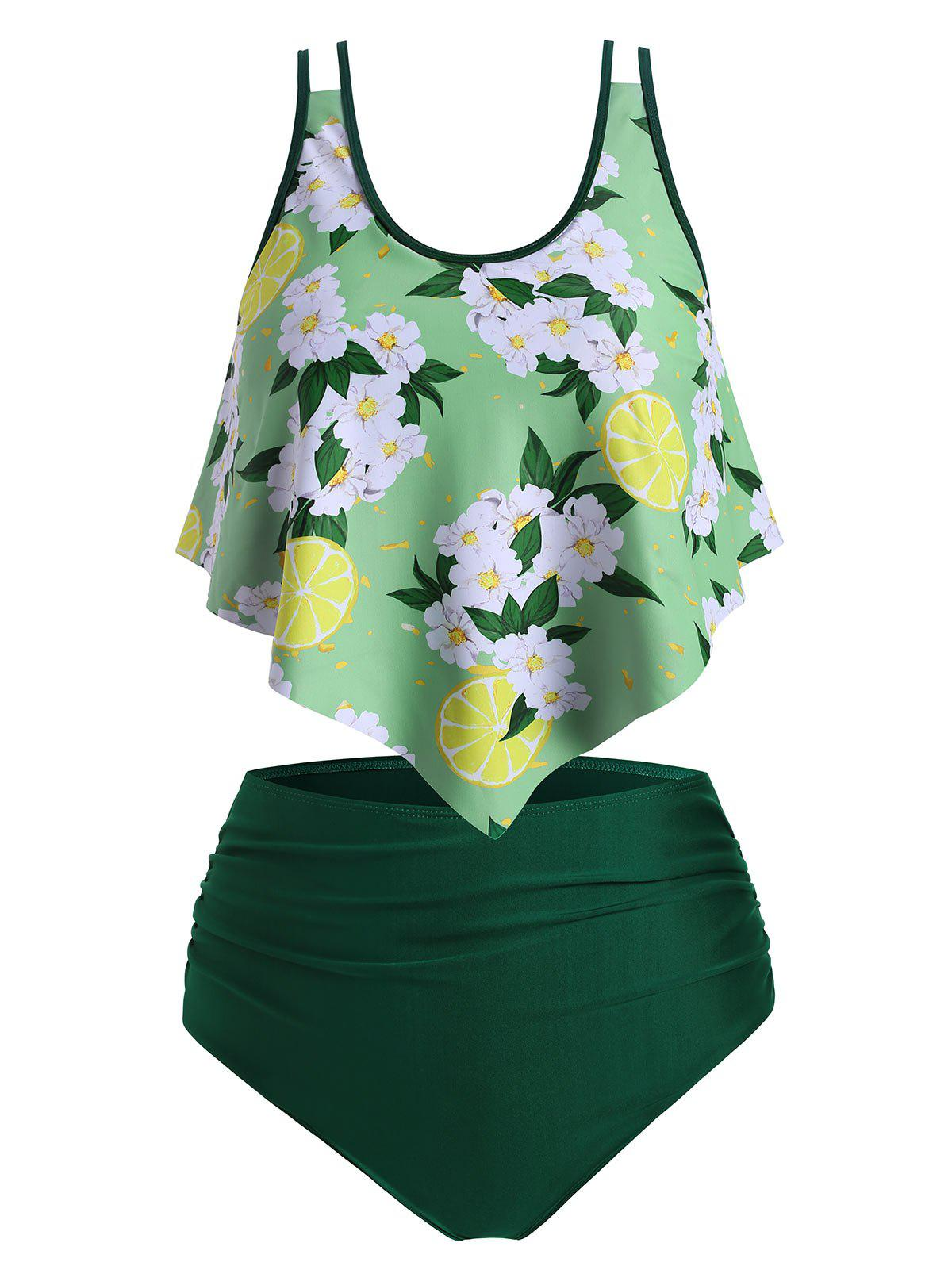 Lemon Floral Flounce Plus Size Ruched Tankini Swimsuit - CHARTREUSE 3X