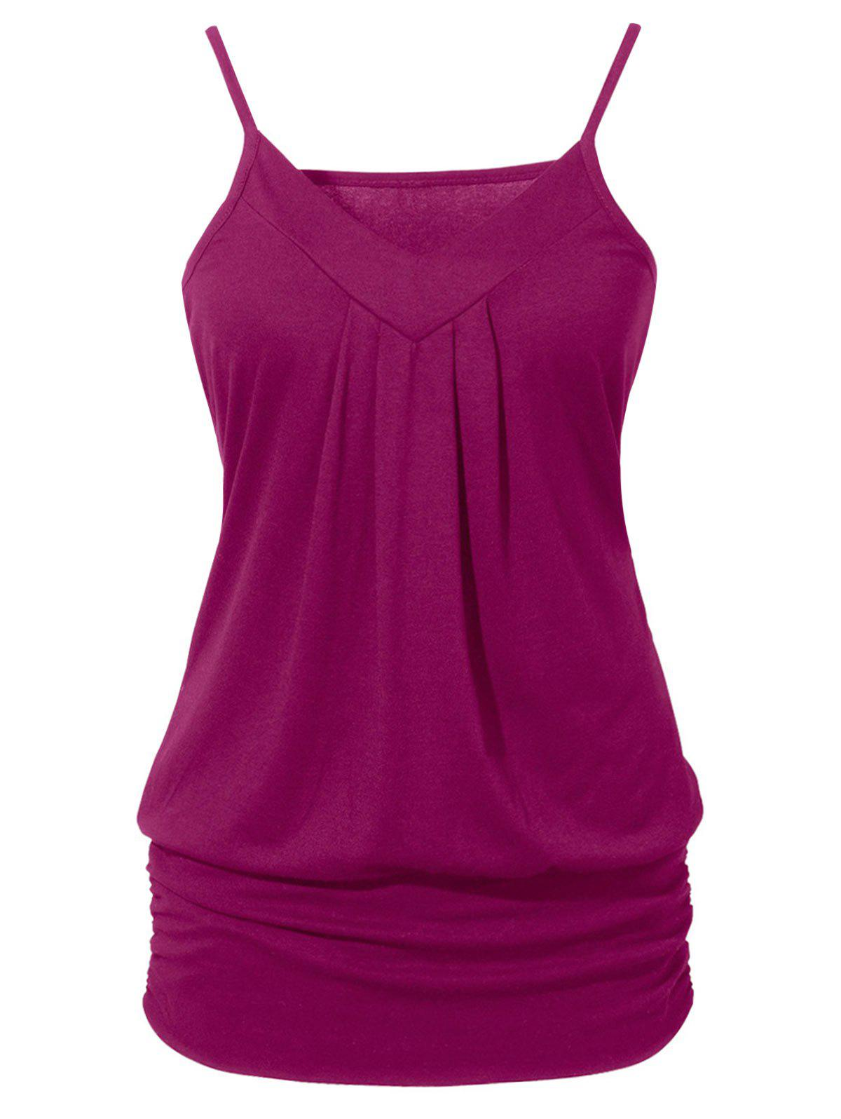 Ruched Solid Color Cami Top - DARK CARNATION PINK S
