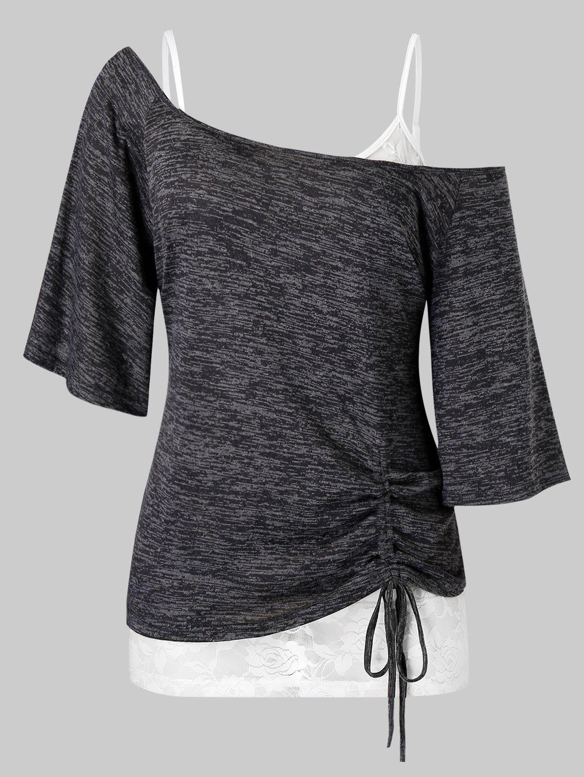 Plus Size Skew Collar Cinched Tee and Lace Cami Top Set - DARK SLATE GREY 2X