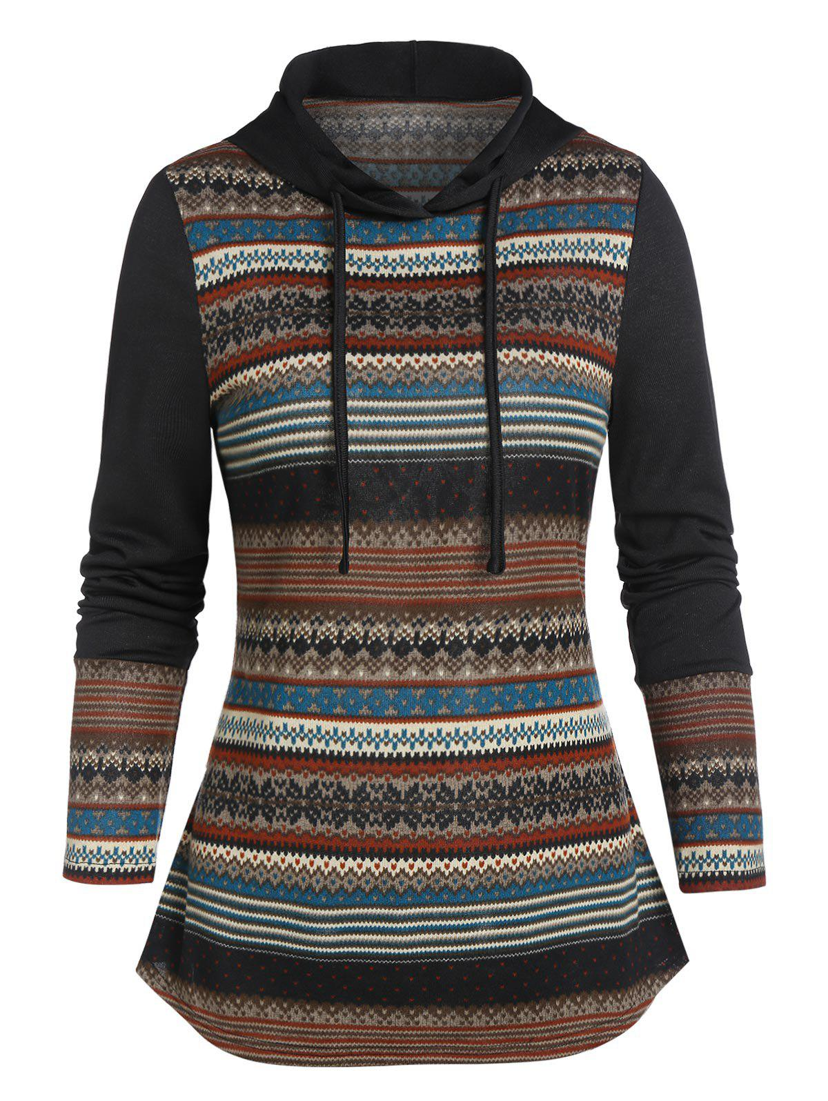 Fair Isle Print Curved Hem Hoodie - multicolor A 2XL