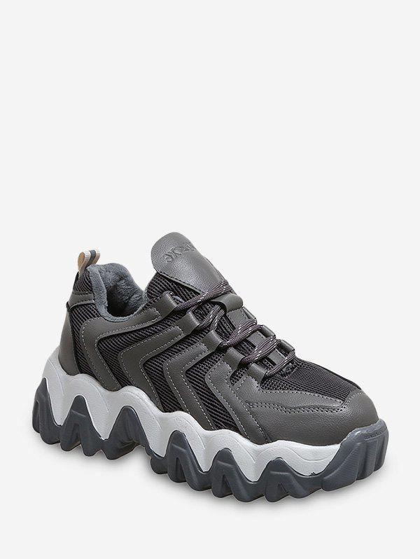 Zigzag Breathable Chunky Outdoor Sneakers - GRAY EU 42
