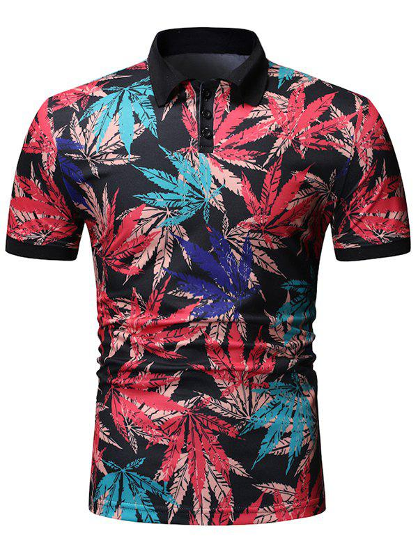 Maple Leaf Print Half Button Short Sleeve T Shirt - BLACK XL