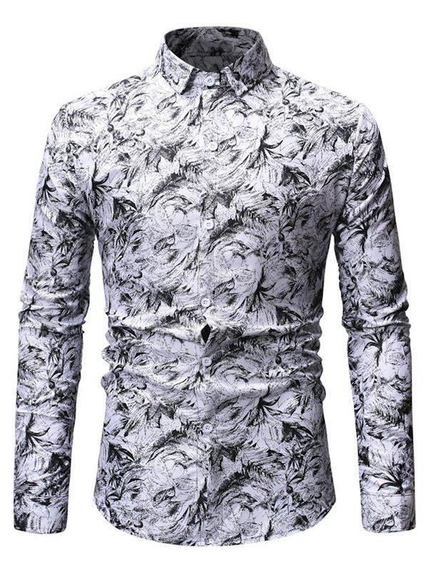 Leaves Print Button Up Slim Fit Shirt - WHITE L