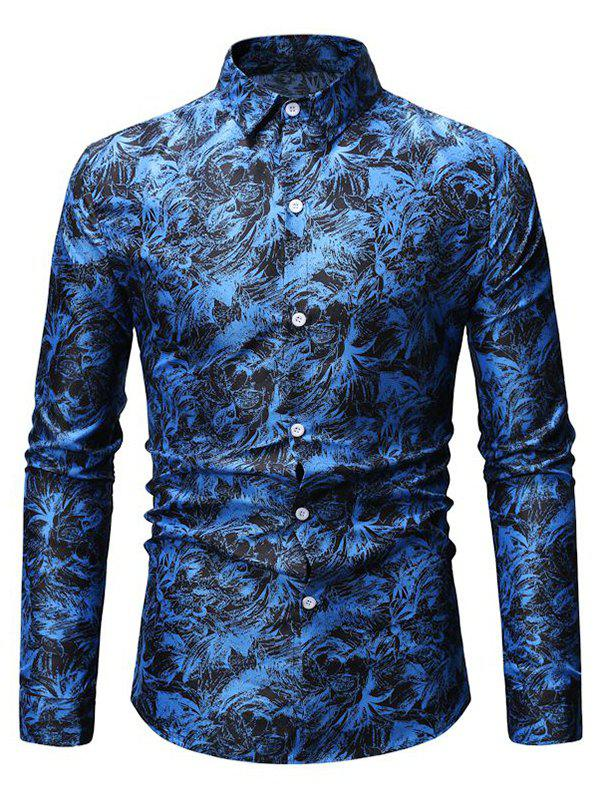 Leaves Print Button Up Slim Fit Shirt - DEEP BLUE M