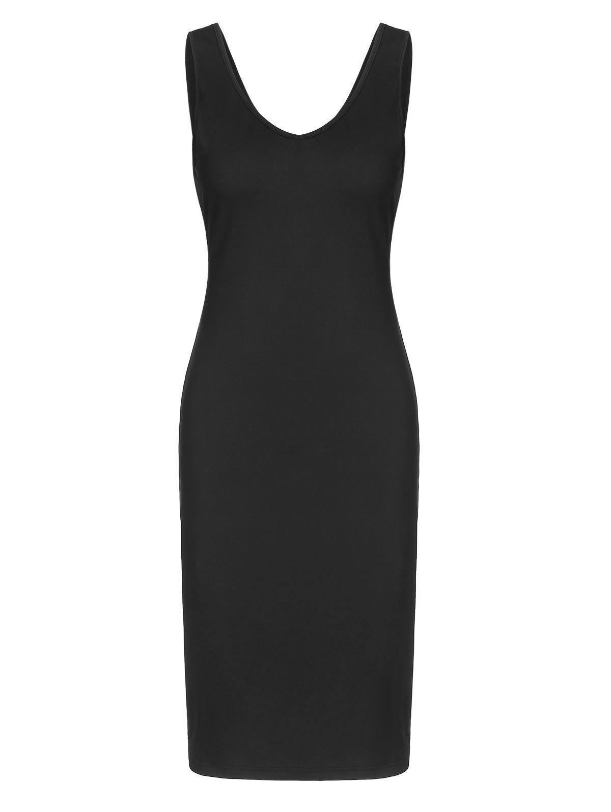 Sleeveless Crossover Cut Out Sheath Dress - BLACK XL