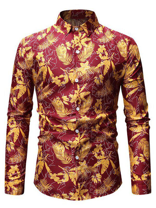 Tropical Leaf Print Button Up Long Sleeve Shirt - RED 3XL