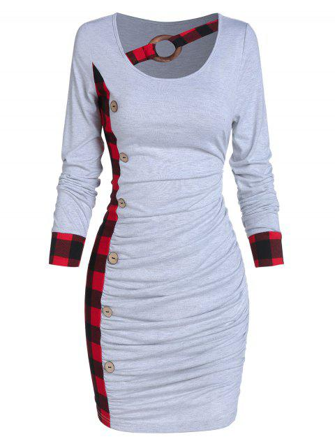 Plaid Ruched Bodycon Dress