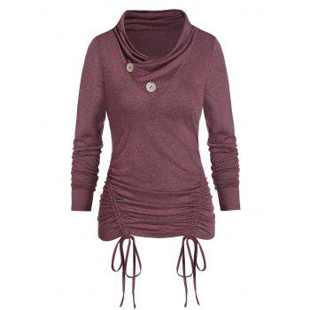 Mock Button Heathered Cinched T-shirt