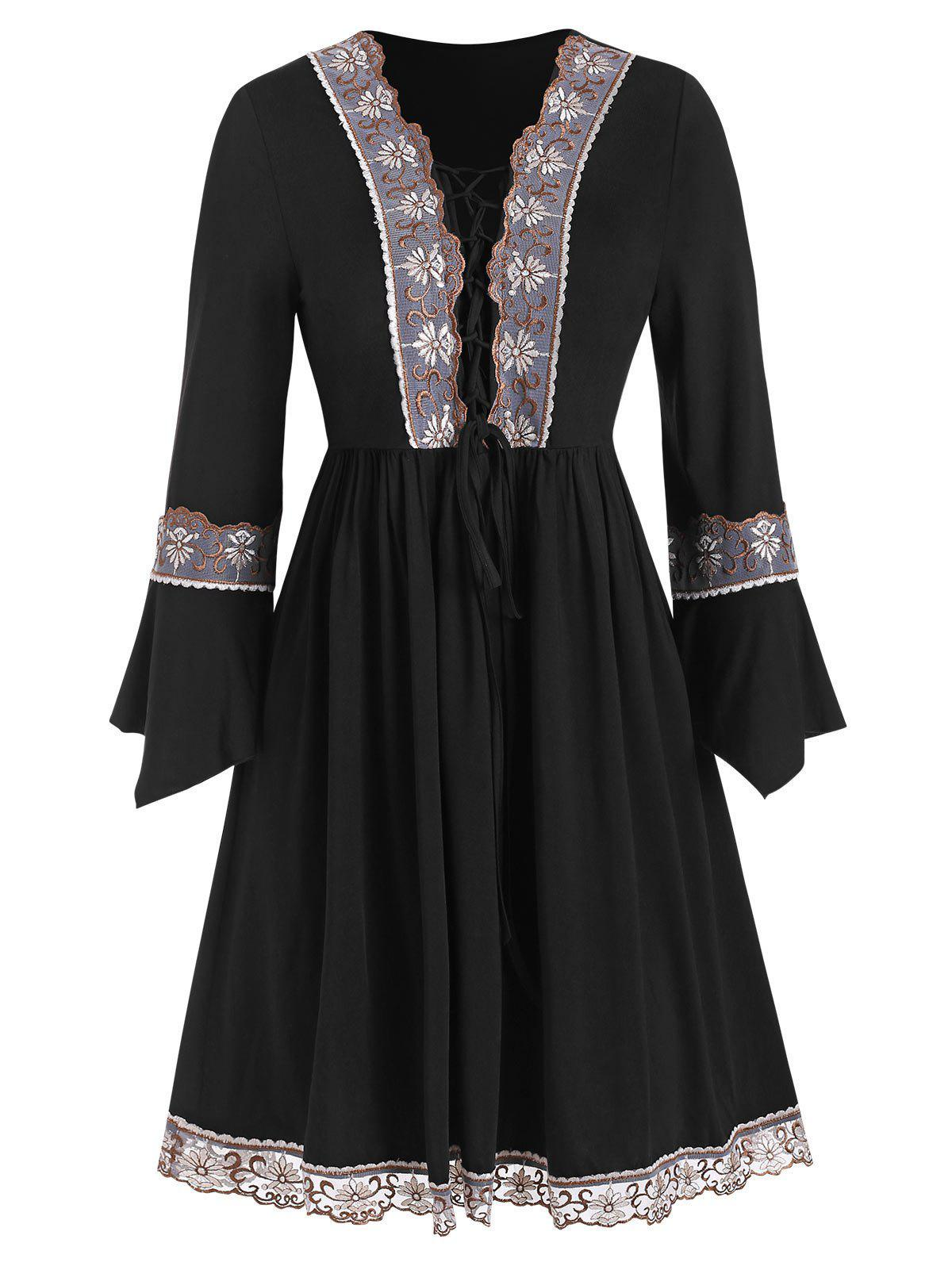 Embroidered Lace-up Plus Size Tunic Top - BLACK 2X
