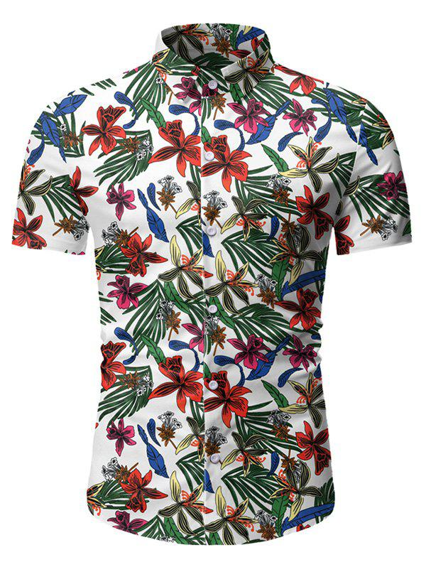 Tropical Floral Print Button Up Short Sleeve Shirt - WHITE 3XL