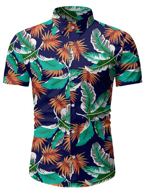 Tropical Leaf Print Button Up Beach Shirt - DEEP BLUE 3XL