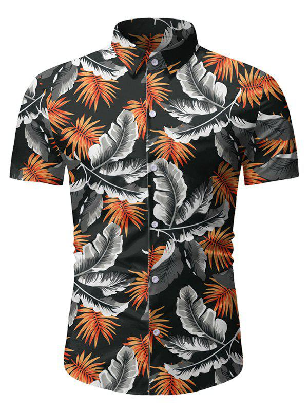 Tropical Leaf Print Button Up Beach Shirt - BLACK 3XL