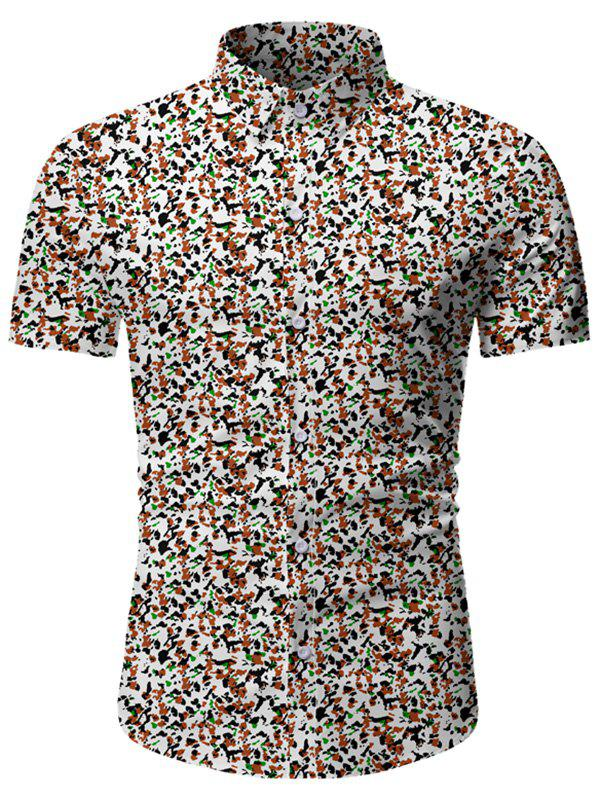 Tiny Flower Button Up Short Sleeve Shirt - multicolor B 3XL