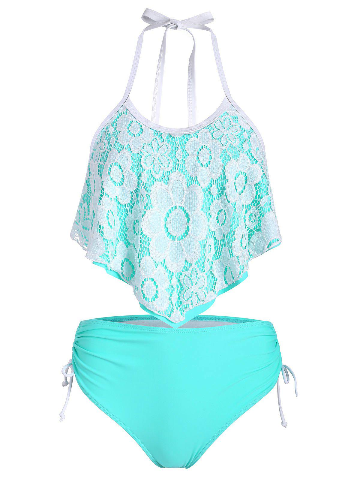 Lace Panel Cinched Overlay Tankini Set - LIGHT AQUAMARINE 2XL